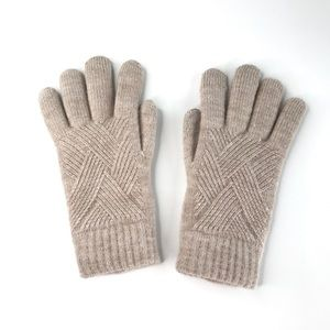 NEW Lined Knitted Digital Gloves - Cream Beige